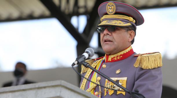 En comandante de la Fuerza Terrestre,Washington Buñay, durante la ceremonia militar por el día del Ejército Ecuatoriano. Foto: Vicente Costales / EL COMERCIO