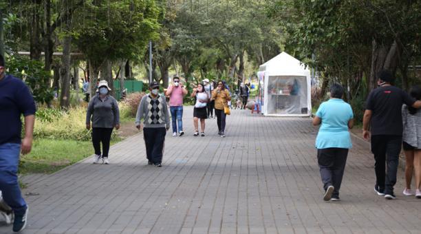 Las familias realizaron paseos y caminatas en varios parques de Quito este domingo 28 de febrero de 2021. Foto: Archivo EL COMERCIO
