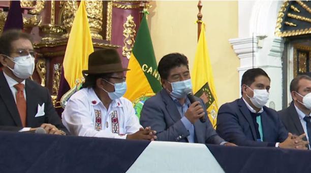 Los alcaldes de Quito, Cayambe, Mejía, Pedro Moncayo, Pedro Vicente Maldonado, San Miguel de los Bancos y Rumiñahui se reunieron en Quito este lunes 1 de marzo del 2021. Foto: Captura