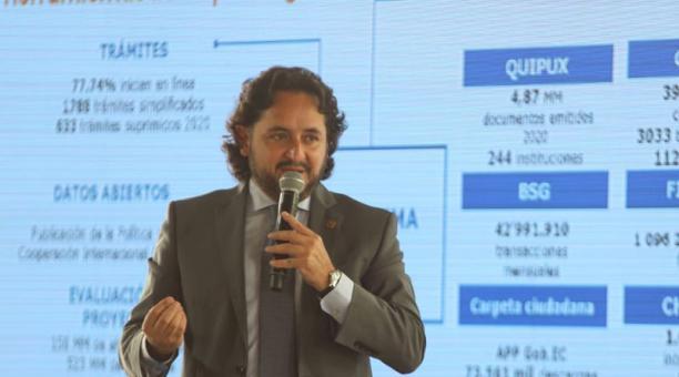 El ministro de Telecomunicaciones, Andrés Michelena, informó el lunes sobre la digitalización en el país. Foto: EL COMERCIO