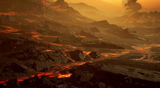 La superficie del exoplaneta recién descubierto llamado Gliese 486 b, un tipo de planeta conocido como