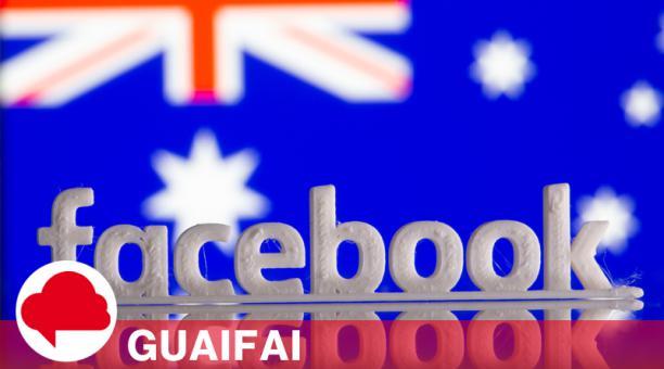 Impresión tridimensional del logotipo de Facebook frente a la bandera de Australia en esta imagen de archivo tomada el 18 de febrero de 2021.