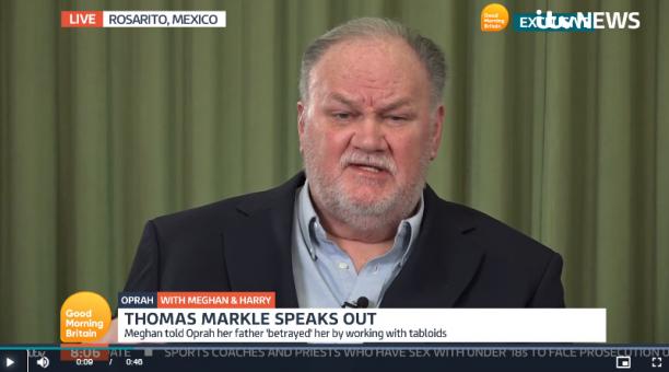 Captura de pantalla de la entrevista que Thomas Markle dio a ITV. Foto: Captura