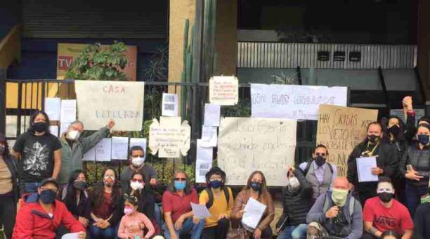 La semana pasada, actores y gestores culturales se reunieron para reclamar el proceso electoral del Núcleo de Pichincha Cortesía: Gio Valdiviezo.