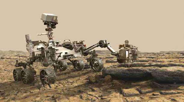 Ilustración realizada por la NASA sobre la travesía de Perseverance en Marte. Este cuenta con seis ruedas que se adaptan a todo tipo de terrenos en el planeta. Foto: Nasa