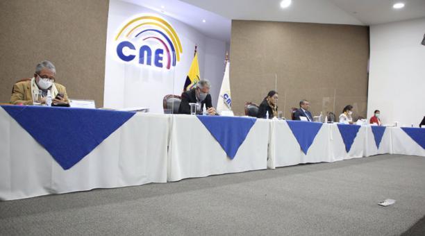 El Consejo Nacional Electoral realizó este 11 de marzo del 2021 la sesión de escrutinios. Foto: Twitter/ @cnegobec.