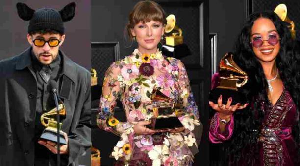Bad Bunny, Taylor Swfit y H.E.R. fueron algunos de los premiados en la gala 2021 de los premios Grammy. Foto: EFE