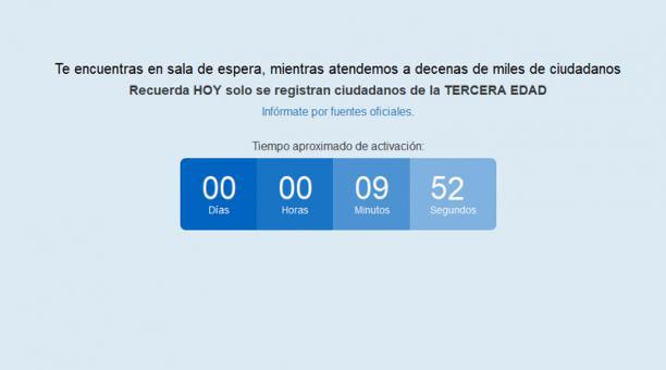 Este es el conteo de espera que aparece cuando el usuario ingresa al registro. Algunos usuarios continúan teniendo problemas para avanzar de este paso. Foto: Captura
