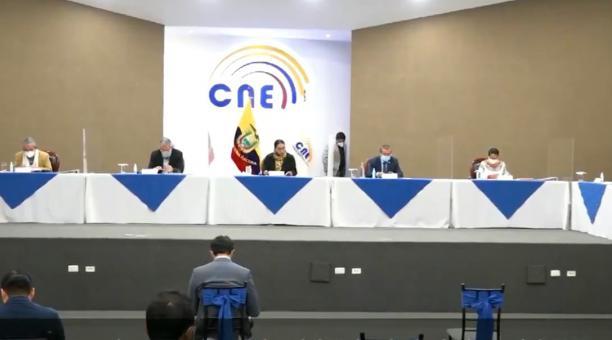 El Pleno del CNE se reunirá el próximo 18 de marzo del 2021 para tratar el orden del debate presidencial. Foto: Twitter CNE