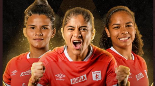 Las jugadoras del América de Cali jugarán la final de la Libertadores del fútbol femenino. Foto de la cuenta Twitter @LibertadoresFEM