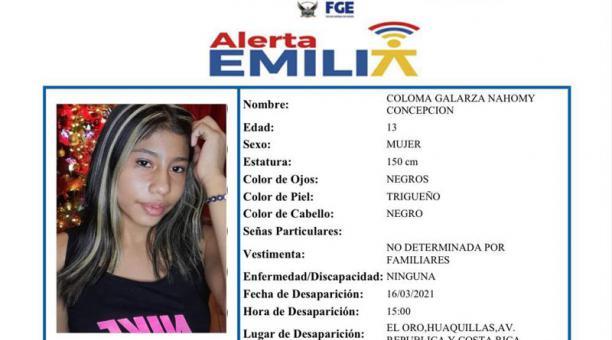 El Ministerio de Gobierno emitió la alerta Emilia por la desaparición de la niña Nahomy Coloma. Foto: Captura de pantalla