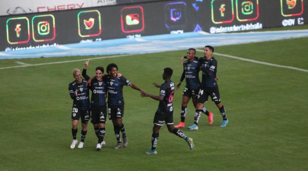 Lorenzo Faravelli anotó el gol en la victoria de Independiente del Valle ante Delfín, en el estadio Banco Guayaquil. Foto: Julio Estrella/El Comercio