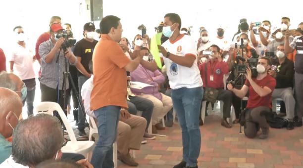 Andrés Arauz cumplió agenda en Manabí este 23 de marzo del 2021. Foto: captura.