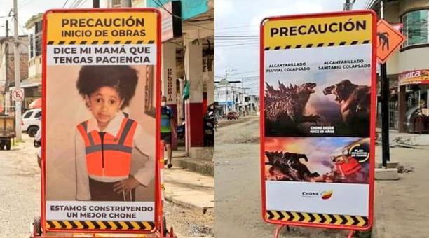 El Municipio de Chone informa sobre las obra que realiza con memes en una nueva campaña que se viralizó en redes sociales. Foto: captura.