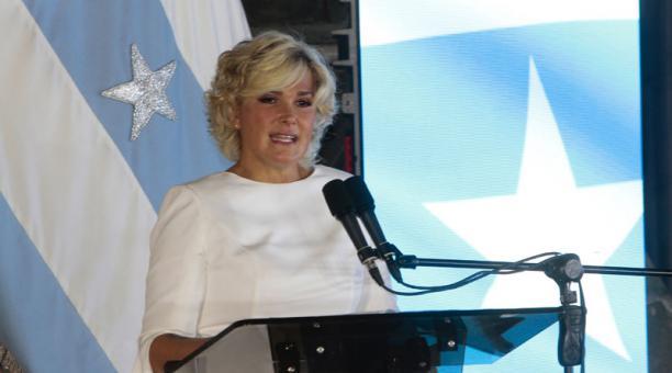 La alcaldesa de Guayaquil, Cynthia Viteri, solicitó una licencia sin sueldo para viajar a México entre el 22 y el 26 de marzo del 2021. Foto: Archivo/ EL COMERCIO.