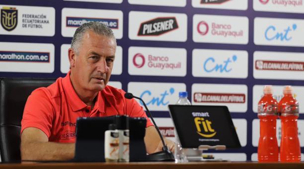 El entrenador de la Selección de Ecuador, el argentino Gustavo Alfaro, participó en una conferencia de prensa este viernes 26 de marzo. Tomado de La Tri