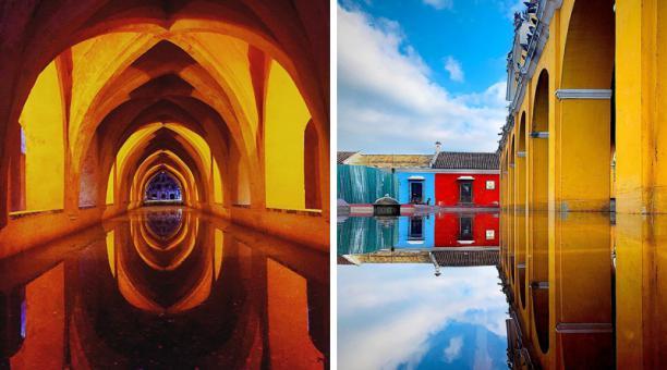 A la izquierda, Alcázar de Sevilla, España. A la derecha, Antigua, Guatemala.