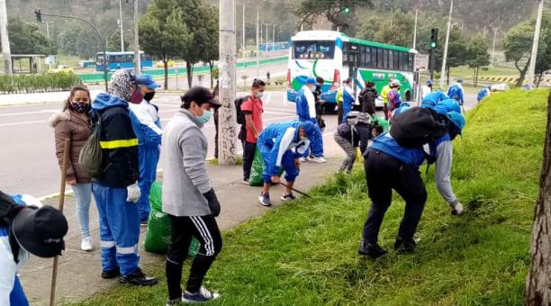 La minga tuvo lugar en el sector de El Censo, en Quito. Foto: cortesía.