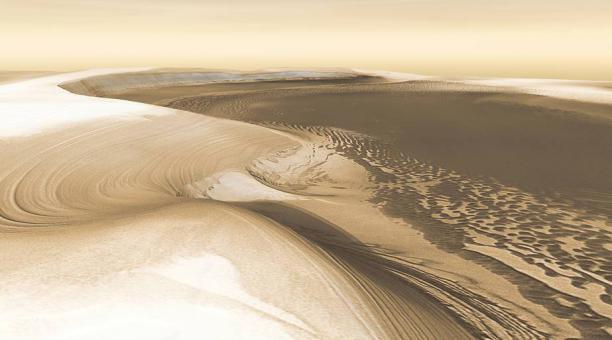 Una simulación en 3D del Chasma Boreal, un gran cañón en el casquete de hielo del polo norte de Marte. Foto: Nasa
