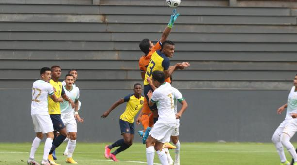 Fidel Martínez anotó el gol con el que Ecuador se adelantó a Bolivia, en el amistoso de este 29 de marzo de 2021. Foto: FEF