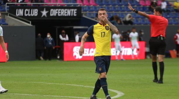 Damián Díaz debutó con la selección ecuatoriana de fútbol, en el amistoso ante Bolivia. Foto: FEF