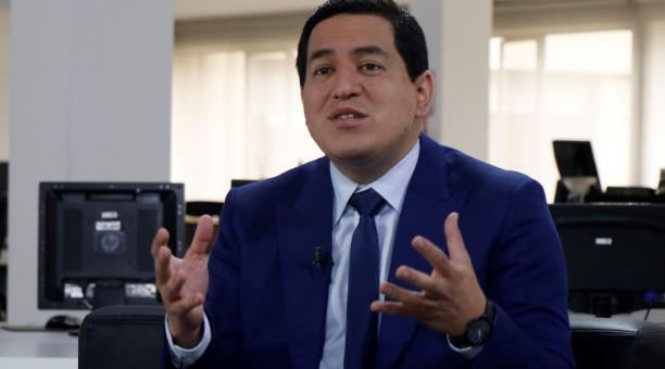 Andrés Arauz habló sobre su plan de gobierno en el set de EL COMERCIO. Foto: Galo Paguay / EL COMERCIO