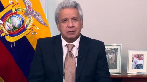 El presidente Moreno abordó el respeto de las normas para la contención de la enfermedad. Foto: Captura