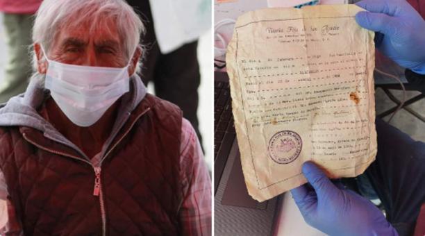 Alejandro Martínez López presentó su fe de bautismo como única identificación para recibir la vacuna contra el covid-19. Foto: Tomada de la cuenta Facebook @AyuntamientoSanSalvador2020