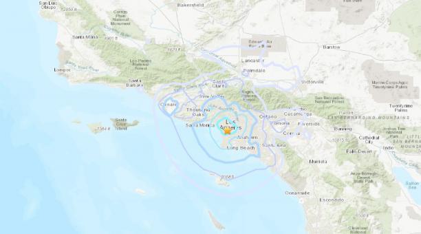 Un sismo de magnitud 4 se registró el 5 de abril del 2021 en Los Ángeles, Estados Unidos. Foto: Twitter USGS