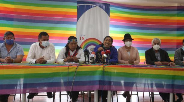 Los dirigentes de Pachakutik anunciaron el 6 de abril del 2021 que separa a Jaime Vargas y se ratifica en el voto nulo para las elecciones de la segunda vuelta en Ecuador. Foto: Julio Estrella/ EL COMERCIO