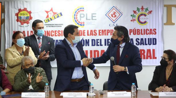 El candidato Arauz indicó que impulsará un nuevo Código de Trabajo que se acople a la realidad ecuatoriana. Foto: Cortesía