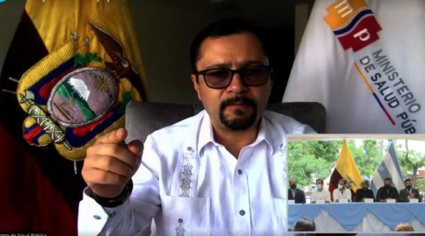 Mauro Falconí, ministro de Salud Pública de Ecuador durante una video conferencia. Foto captura