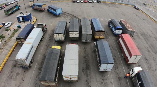 Camiones esperan horas y hasta días para entrar a descargar el banano en Puerto Bolívar, en El Oro. Foto: Enrique Pesantes.