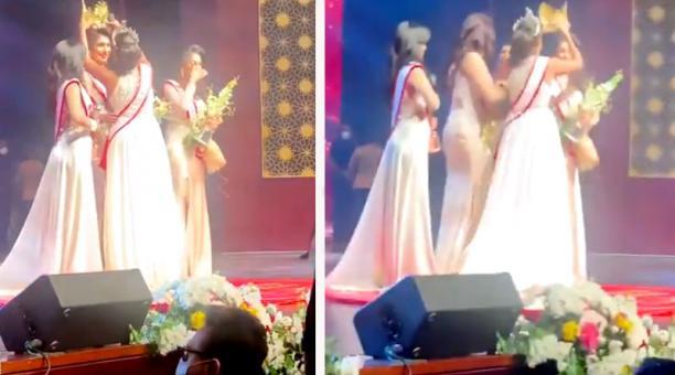 La reina de belleza fue detenida tras ser denunciada por agresión, al supuestamente causarle heridas y provocarle el desmayo a Miss Sri Lanka luego de quitarle la corona. Foto: Captura de pantalla