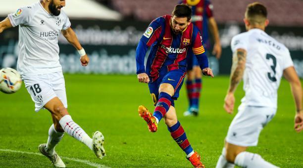 Lionel Messi marcó un doblete en el triunfo del FC Barcelona ante el Huesca. Foto: Twitter del FC Barcelona