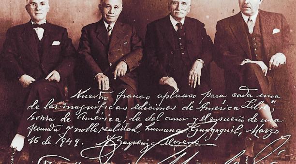 Este grupo de gobernantes, entre 1916 y 1948, posó para la revista guayaquileña América Libre, en 1949. Foto cortesía: Archivo Histórico del Guayas