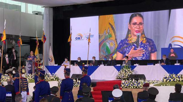 Diana Atamaint, presidenta del CNE, inauguró este 11 de abril del 2021 el jornada electoral. Foto: Julio Estrella / EL COMERCIO