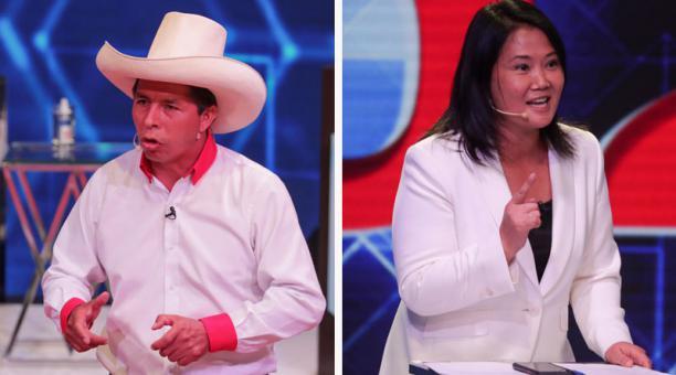 Los candidatos presidenciales Pedro Castillo y Keiko Fujimori aparecen como los cuadros que pasarían a la segunda vuelta en Perú, tras los resultados preliminares de las elecciones en ese país. Fotos: Reuters