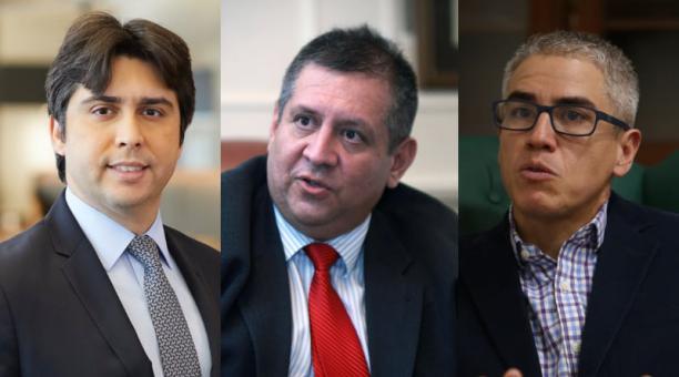Alejandro Arreaza, responsable de cobertura macroeconómica para Barclays; Xavier Orellana, consultor; y  Santiago Mosquera, profesor del USFQ Business School.