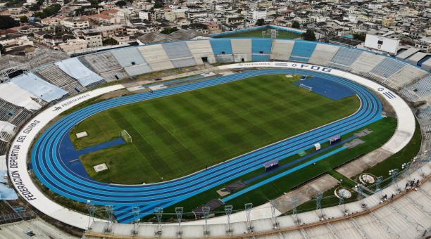Así luce la pista atlética del escenario en una postal publicada por la Federación Deportiva del Guayas. Tomado de @Fede_Guayas