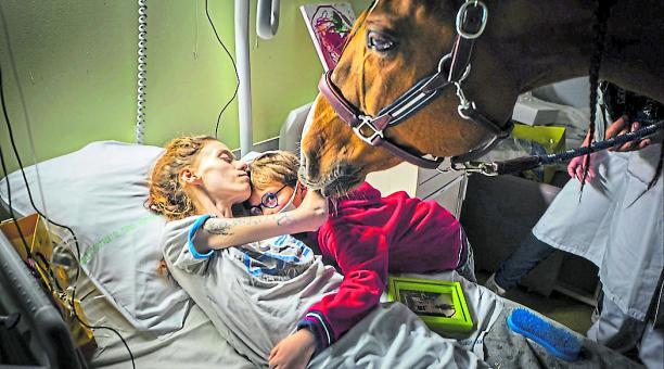 Esta imagen de Jeremy Lempin muestra a Marion, una mujer con cáncer, que abraza a su hijo y a su caballo Peyo.