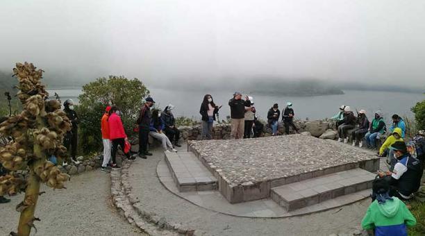 La laguna de Cuicocha, uno de los geositios de esta provincia, fue el escenario escogido para esta celebración. Foto: cortesía Geoparque Imbabura