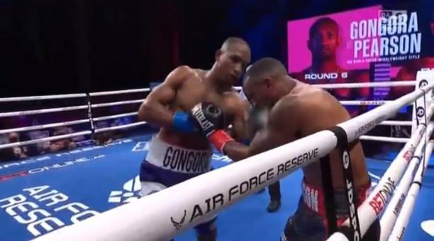 El boxeador ecuatoriano Carlos Góngora en el combate de este sábado 17 de abril del 2021. Foto: DAZN