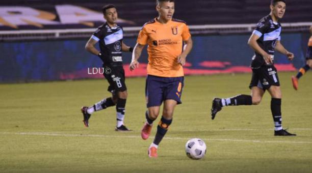 Jordy Alcívar en el partido de la Noche Blanca ante el Macará. Foto: Prensa de Liga de Quito