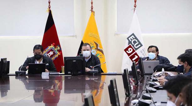 El COE Nacional durante la sesión de este 18 de abril del 2021. Foto: ECU 911
