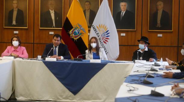 Wilma Andrade, César Litardo, Pierina Correa y Salvador Quishpe presidieron la cita. Foto: Diego Pallero/ EL COMERCIO