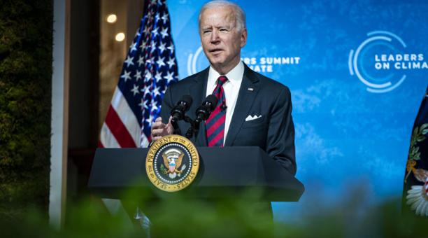 El presidente de EE.UU., Joe Biden, participó el 22 de abril del 2021 en la Cumbre de Líderes sobre el Clima, una conferencia virtual organizada por la Casa Blanca en la que participan 40 líderes internacionales. Foto: EFE