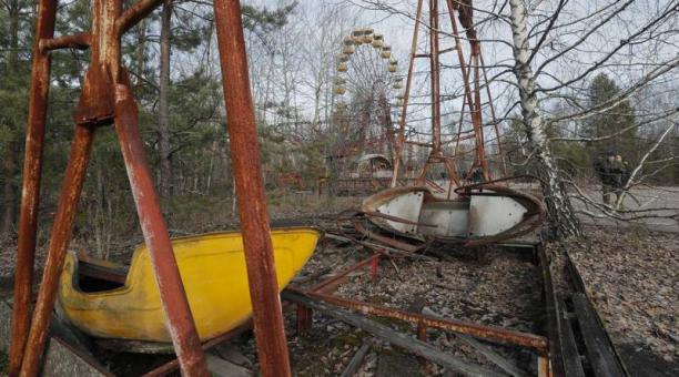 Imagen de la ciudad de Chernobil, Ucrania, que muestra los efectos del accidente nuclear en abril de 1986. Foto: Agencia EFE