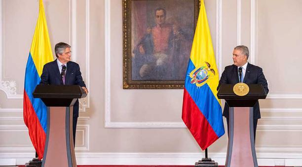Guillermo Lasso se reunió el pasado 20 de abril del 2021 con el presidente de Colombia, Iván Duque. Foto: EFE