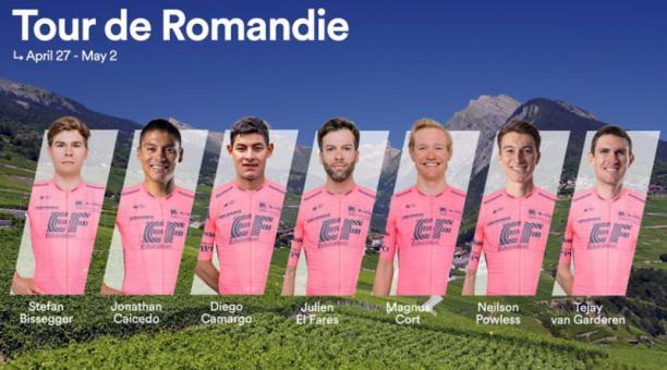 Jonathan Caicedo (segundo desde la izq.), correrá con en el EF Pro Cycling en Normandía. Foto: @EFprocycling
